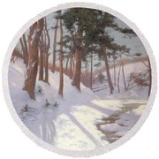 Winter Woodland With A Stream Round Beach Towel