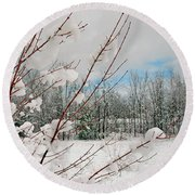 Winter Woods Round Beach Towel by Joann Vitali