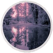 Winterland In The Swamp Round Beach Towel by DigiArt Diaries by Vicky B Fuller