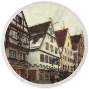 Winterly Old Town Round Beach Towel by Jutta Maria Pusl