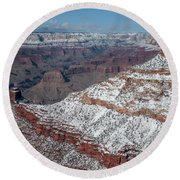 Winter's Touch At The Grand Canyon Round Beach Towel