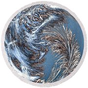 Wintry Pine Needles Round Beach Towel