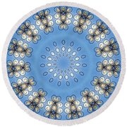 Wire Flowers And Butterflies Round Beach Towel