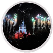 Wishes At The Magic Kingdom Round Beach Towel