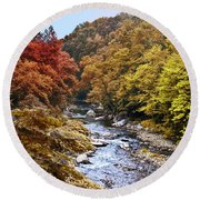 Wissahickon Creek In Fall Round Beach Towel