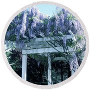 Wisteria In Bloom  Round Beach Towel