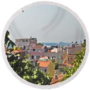 With A Seaview Round Beach Towel