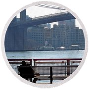 With Ny In Front Of Me Round Beach Towel