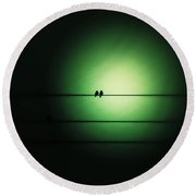 Within The Emerald Glow Round Beach Towel