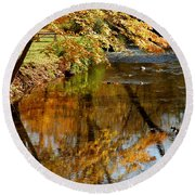 Wolcott River Reflections Round Beach Towel