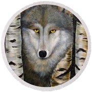Wolf Beauty Round Beach Towel