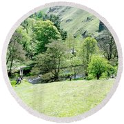 Wolfscote Dale From Gipsy Bank Round Beach Towel