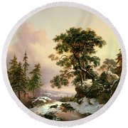 Wolves In A Winter Landscape Round Beach Towel