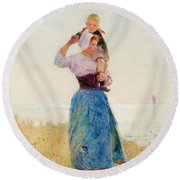 Woman And Child In A Meadow Round Beach Towel