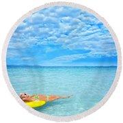 Woman And Ocean Round Beach Towel