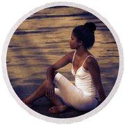 Woman At A Lake Round Beach Towel by Joana Kruse