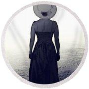 Woman At The Shore Round Beach Towel by Joana Kruse