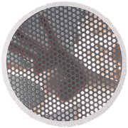 Woman Behind A Metal Mesh Round Beach Towel