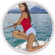 Woman Boating At Kaneohe Round Beach Towel