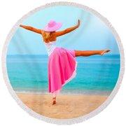 Woman Dancing Round Beach Towel