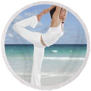 Woman Doing Yoga On The Beach Round Beach Towel