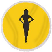 Woman Graphic Round Beach Towel by Pixel Chimp