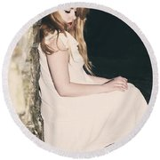 Woman In An Alley Round Beach Towel by Joana Kruse