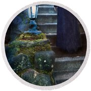 Woman In Dark Gown On Old Staircase Round Beach Towel