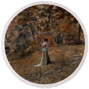 Woman In Green Gown  Round Beach Towel