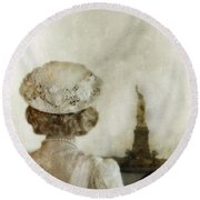 Woman In Hat Viewing The Statue Of Liberty  Round Beach Towel