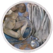 Woman In The Tub Round Beach Towel by Edgar Degas