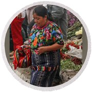 Woman In Traditional Guatemalan Dress Round Beach Towel