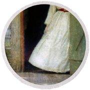 Woman In Vintage Victorian Era Dress In Doorway Round Beach Towel