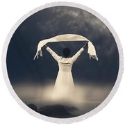 Woman In Water Round Beach Towel