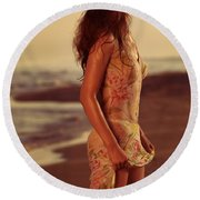 Woman In Wet Dress At The Beach Round Beach Towel