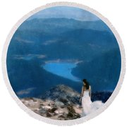Woman In White Gown On Mountain Top Round Beach Towel