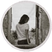 Woman In Window Round Beach Towel