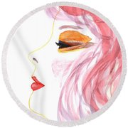 Woman Inner Trust Watercolor Painting Round Beach Towel