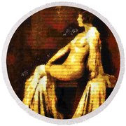 Woman Of The Night Round Beach Towel