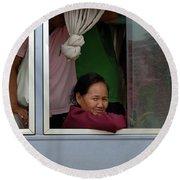Woman On Bus Laos Round Beach Towel