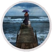 Woman On Dock In Storm Round Beach Towel