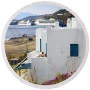 Woman On The Terrace - Mykonos Round Beach Towel
