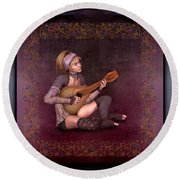 Woman Playing The Lyre Round Beach Towel