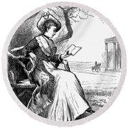 Woman Reading, 1876 Round Beach Towel