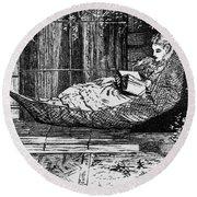 Woman Reading, C1873 Round Beach Towel