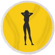 Woman Relaxed  Round Beach Towel