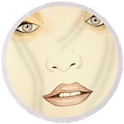 Woman Scent Sepia Round Beach Towel