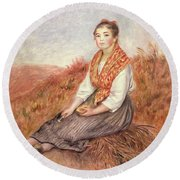 Woman With A Bundle Of Firewood Round Beach Towel