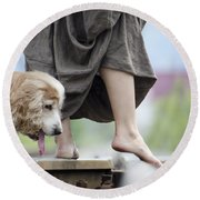 Woman With A Skirt And A Dog Round Beach Towel