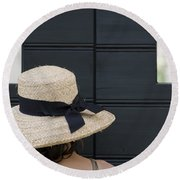 Woman With A Straw Hat Round Beach Towel